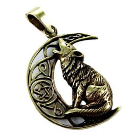 Ketting brons Huilende Wolf in Keltische Maan dessin Lisa Parker