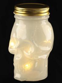 Doorzichtige doodskop met ledlicht en schroefdop - wit - 13 cm hoog
