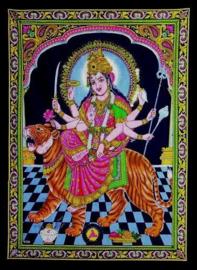 Eenpersoons bedsprei wandkleed Indiaas katoen met glitters - Durga - 150 x 200 cm
