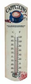 Metalen theromometer Cappucino wit - 26 cm hoog