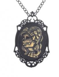 Gothic horror steampunk camee ketting Dia de Muertos