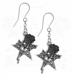 Alchemy Gothic hangoorbellen - Ruah Vered - pentagrammen met zwarte rozen - 4.7 mm hoog