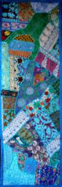 Indiase wandkleed tafelkleed lapjesdessin turquoise 140 x 45 cm