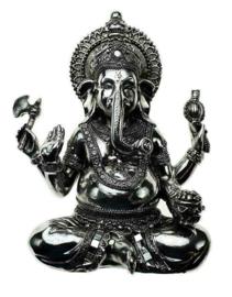 Ganesha zittend met geschenken zilveren polyresin 21 cm hoog