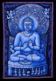 Indiase muurkleed wandkleed Boeddha blauw c.a.  80 x 110 cm