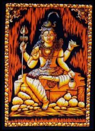 Indiase wandkleed muurkleed katoen Shiva driekleurig zwart wit oranje - c.a.  80 x 110 cm