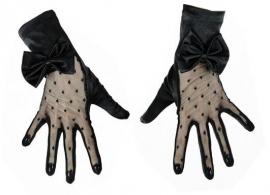 Restyle zwarte satijnen kanten handschoenen met strikjes