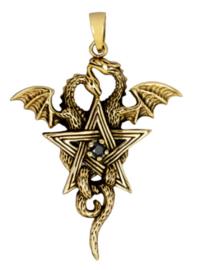 Bronzen kettinghanger twee Gothic Keltische draken met pentagram - 55 x 36 mm