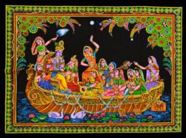 Muurkleed Krishna en Rhada en meisjes in boot - 80 x 110 cm