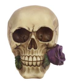 `Rose from the dead` - grote doodskop met een paarse roos - 13 cm