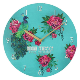 Indian Peacock - Oriental flight - wandklok - Ø 34 cm