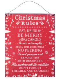 Blikken metalen wandbord Christmas Rules 19 x 24 cm