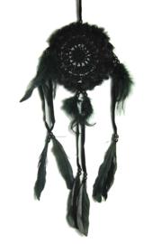 Droomvanger fluffy zwart gehaakt 12 cm doorsnee