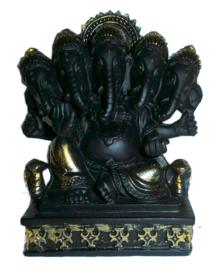 Ganesha Multihoofd Zwart Goud 11 cm hoog
