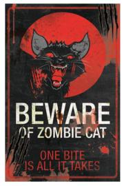 Metalen wandbord Zombie Cat - 40 cm hoog