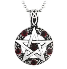 Pentagram ketting met 6 rode strassstenen 316 titanium staal - 3.5 x 5 cm