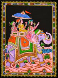 Muurkleed 3 Indiase mannen op olifant - 80 x 110 cm