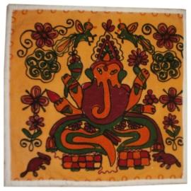 Indiase geborduurde kussenhoes Ganesha oranje - 38 x 38 cm