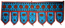 Toran turquoise olifanten met spiegeltjes 7 bladen