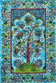 Bedsprei / wandkleed Levensboom Tree of Life Turquoise - 225 x 150 cm