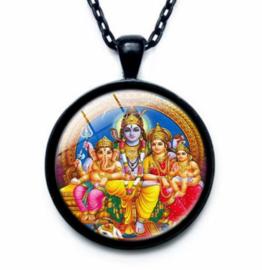Glazen hanger met ketting Ganesha Shiva Parvati 3