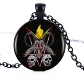 Glazen hanger met ketting Baphomet 666