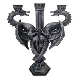 Dragon's Altar - Gothic kandelaar met 2 draken 29. cm hoog