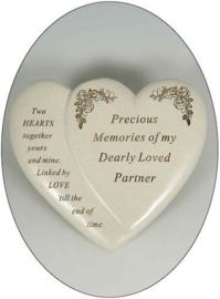 Grafsteen herdenkingsbeeld voor een partner in de vorm van een hart - 16 x 17 x 10 cm