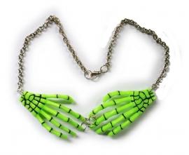 Harajuku skeletale handen nekketting neon groen