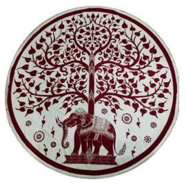 Ronde mandala doek bedsprei wandkleed tafelkleed vloerkleed Olifant en boom - 180 cm doorsnee