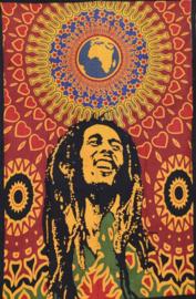 Een persoons bedsprei, wandkleed Bob Marley Psychodelic World - 120 x 220 cm