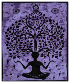 Bedsprei wandkleed tweepersoons Chakra Yogaman Levensboom Paars - 210 X 220 cm