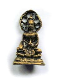 Minibeeld Thaise Boeddha met achterblad 3 cm hoog