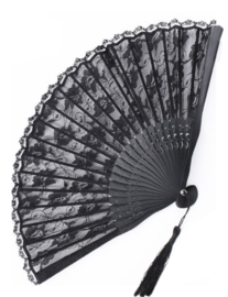 Fantasmagoria Black lace gothic folding fan - kanten waaier