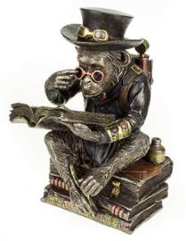 Chimpanzee Scholar - Darwinisme - bronskleurige Steampunk Aap - 19.5 cm