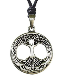 Pewter nekketting Levensboom Tree of Life dessin 1