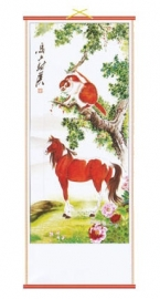 Chinese scroll paard en aap