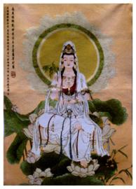 Tibetaanse thangka Quan Yin Guanyin Kwan Yin  op lotus dikke zijden brokaat - 60 x 90 cm