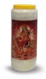 Noveenkaars Durga op Tijger - 6 x 6 x 17 cm