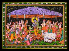 Muurkleed Krishna dansend met heilige koe - 80 x 110 cm