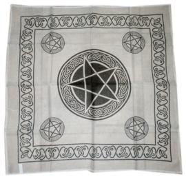 Bandana / altaarkleed / tafelkleed pentagram wit - 65 x 65 cm