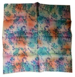 Indiase zijden sjaal met bloemetjes dessin 66 x 66 cm 5