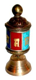 Tibetaanse gebedsmolen messing 7 cm hoog