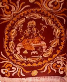 Bedsprei / wandkleed / grand foulard / gordijn batik Ganesha rood oranje - 200 x 250 cm
