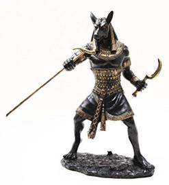 Anubis brons staand met stok 25 cm hoog