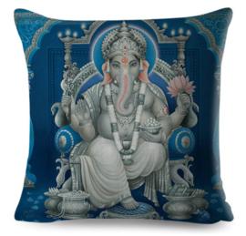 Kussenhoes Hindu God - Ganesha blauw - 45 x 45 cm