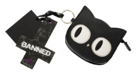 Banned Apparel - Eye of the beholder - portemonnee met katdessin en sleutelhanger - 11 cm breed