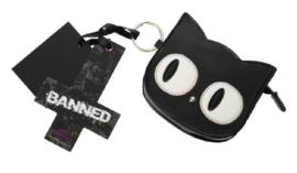 Banned Apparel - Eye of the beholder - portemonnee met katdessin en sleutelhanger - 11 cm breed
