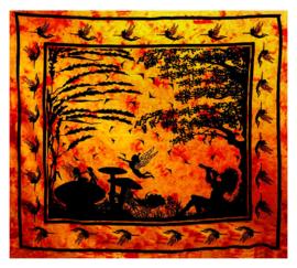 Bedsprei / wandkleed Fee met paddestoelen oranje 200 x 220 cm