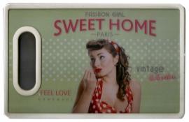 Retro snijbord / boterhambord Sweet Home - 16 x 25 cm